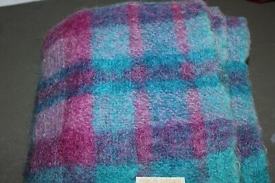 """Hudson's Bay Mohair Blanket Made in Scotland 48"""" X 64 """" cotton candy"""