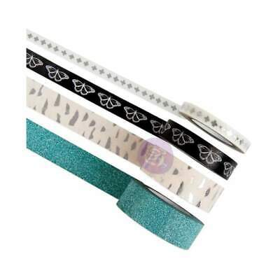 NEW Prima Marketing Zella Teal Decorative Tape 4 pack Printed & Glitter