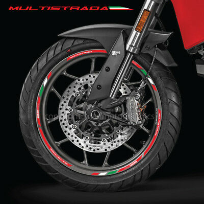 Ducati Multistrada 950 Corse motorcycle wheel decals 12 rim stickers stripes red