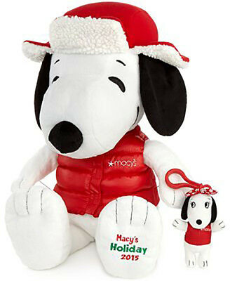 Macy 2015 Snoopy Plush Toy Holiday Peanuts With Backpack Clip-Vest NEW/OPEN BOX
