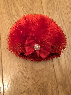 Baby Girls Fluffy Red Boutique Hat 0-6 Months