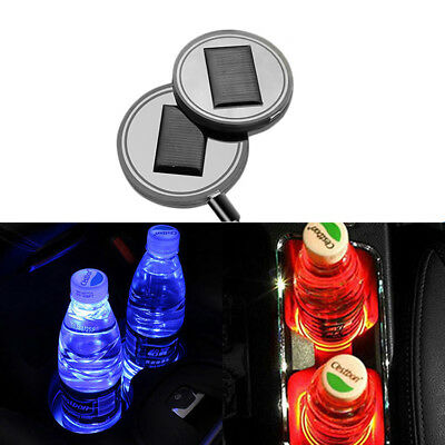 Holder Bottom Pad Mat LED Light Cover Trim Atmosphere Lamp Auto Car Solar Cup
