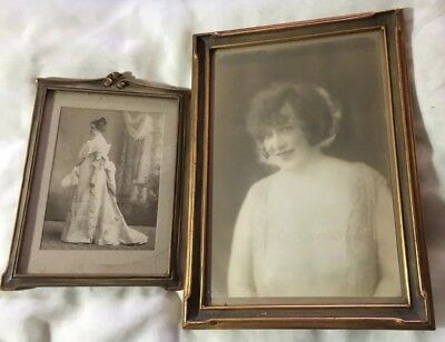 (2) Rare 1920s Vintage Antique Photographs Woman Roaring 20s Victorian - Framed