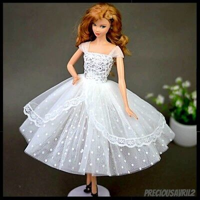 Barbie Doll Clothes White Dress Wedding Party Evening Dress/Clothes/Outfit New