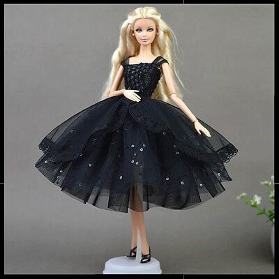 Barbie Doll Clothes Black Dress Wedding Party Evening Dress/Clothes/Outfit New