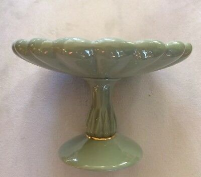 RARE VINTAGE LENOX Green w/Ivory Interior Compote Candy Dish Old Lenox Blue Mark