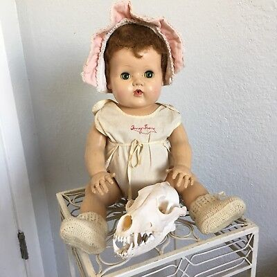 """Vintage 19"""" redhead american character tiny tears doll with original cloths"""