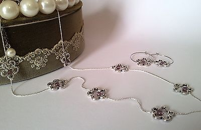 Handmade SET Silver Necklace & Earrings, Flowers Purple Beads Fashion Ethnic LOT