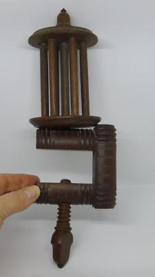 Antique All Wood Table Clamps Wool Winder Sewing Knitting Treen Victorian