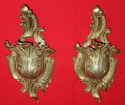 Pair Of Vtg Rococo Wall Sconces Pocket Planter Gold Brass/bronze Heavy Must See!