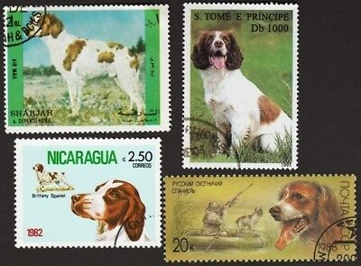 BRITTANY SPANIEL ** Int'l Dog Postage Stamp Collection ** Unique Gift Idea**