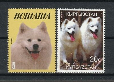 AMERICAN ESKIMO DOG ** Int'l Dog Postage Stamp Collection ** Unique Gift **