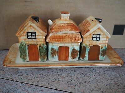 Vintage Salt & Pepper Shakers, 4 piece set, Houses with Sugar Dish and Tray
