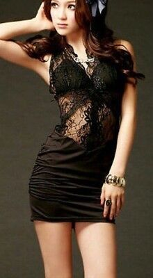 Sexy Women's Floral Lace Sleeveless Evening Party Casual Mini Dress Medium Black