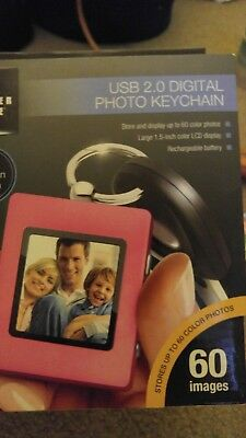 Sharper Image USB 2.0 Digital Purple Photo Keychain #1520006 New Free Shipping