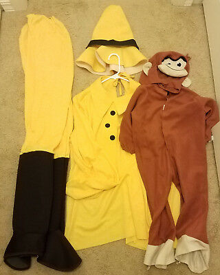 Children's small Curious George & Men's Man in the Yellow hat costume