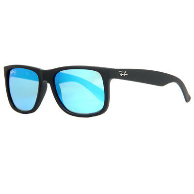 Ray Ban RB 4165 622/55 54mm Justin Matte Black/Blue Mirror Square Sunglasses