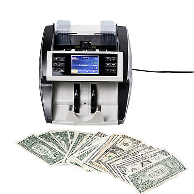 Money Bill Mix Value Counter Counting Bank Counterfeit Detector Checker UV Z1P9