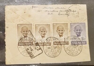INDIA Indian 1948 GANDHI FDC 15th aug Poona - Bombay Dely 20th Aug Back Only !!