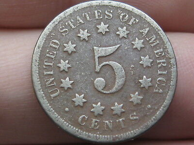 1867 Shield Nickel 5 Cent Piece, No Rays