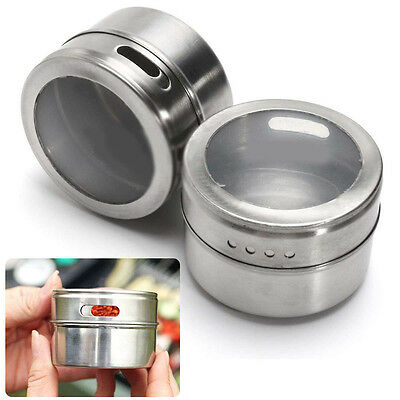 6X Magnetic Spice Tin Stainless Steel Storage Container Jar Clear Lid D:6.5cm EA
