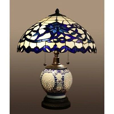 Blue Tiffany Style Table Lamp Akiko Stained Glass 21-inch 3 Light Double Lit New