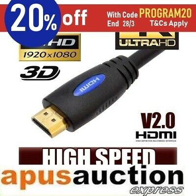 2M HDMI Cable v2.0 3D High Speed with Ethernet HEC 4K Ultra HD Digital Gold Pl