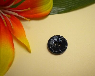 Antique Vtg Navy Blue 2-Hole China Button With Flower Pattern