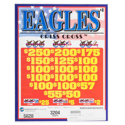 """""""Eagles"""" 3 Window Pull Tab 3204 Tickets Payout $2520 Free Shipping USA"""