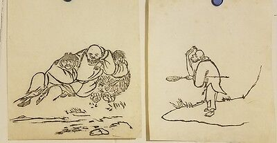 Korean original painting (small size)- 2set of monks painting