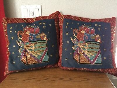 "Laurel Burch Decor Pillows x 2 17"" Surprise Box Cats Feline Tapestry Throw"