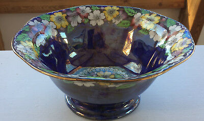 Maling England large octagonal floral lustre footed bowl Newcastle on yne (448)