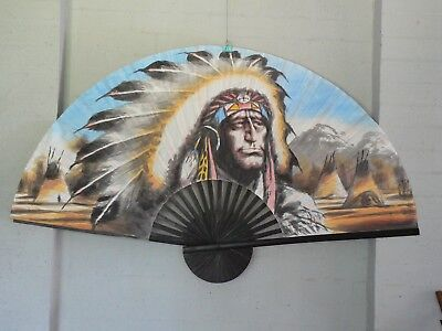 """NATIVE AMERICAN Extra Large 60"""" Inch HAND PAINTED ASIAN WALL FAN (151cm x 90cm)"""