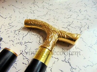 Antique Style Brass Designer Wooden Walking Stick/Cane Vintage Victorian Canes