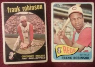Frank Robinson Lot of 2 Vintage Topps Cards 1959 #435 & 1965 #120 Reds.