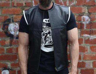 Leather Biker Vest Harley,Cruiser etc White Piping Lined PREMIUM BUFFALO HIDE