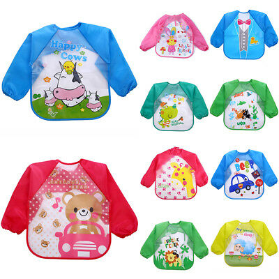Baby Kids Long Sleeve Feeding Waterproof Coverall Bib Smock Art Craft Play Apron