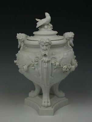 Antique Sevres parian porcelain Urn with Satyr Heads WorldWide