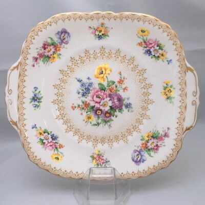 🌟 Tabbed Cake Plate Lynton Floral Sprays With Gold Trim Crown Staffordshire