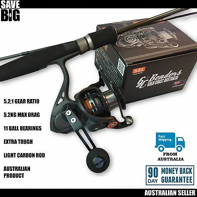 Fishing rod and reel spin combo GC Benders Australian quality soft plastic bass