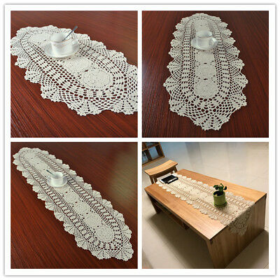 Oval Beige Crochet Lace Doily Vintage Cotton Table Runner Wedding