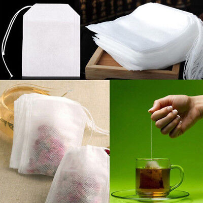 100x Small Empty Non-Woven Style Draw String Heat Seal Filter Tea Bags 5.5 x 7cm