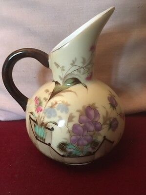 Aesthetic Movement Porcelain Beautiful Jug Highly Stylised Pastel Colour Flora