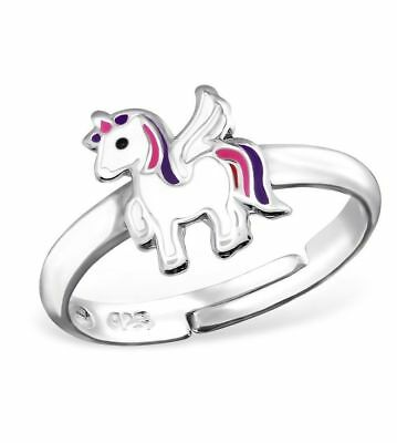 Childrens Girls Sterling Silver Purple & Pink Unicorn Ring Adjustable Gift Boxed