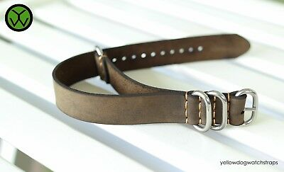 Italian Distressed Brown Thick Leather NATO ZULU G10 Brass PVD Brushed Polished