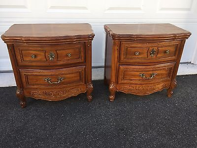 Pair of French Provincial Nightstands 2 Drawers End Tables