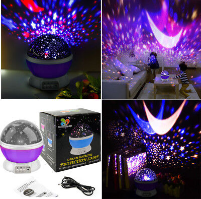 Baby Cot Nursery Star Sun Moon Night Light Projector PURPLE Dreamshow Lamp Show