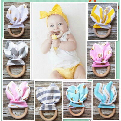 Fashion Rabbit Ear Baby Infant Healthy Safety Fabric Wooden Teething Rings Toy