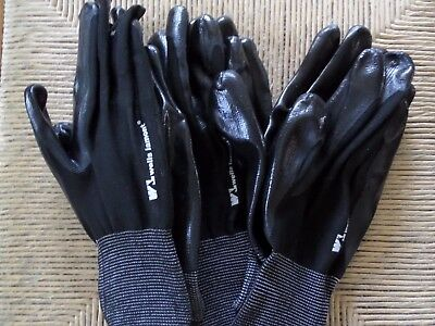 3 pairs lot Wells Lamont men's 100% Nitrile Coated Work Gloves size large