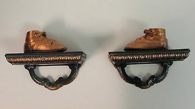 2-Vtg Coppered Baby Shoes On Ornate Heavy Metal Wall Hanging Shelf Like Decor
